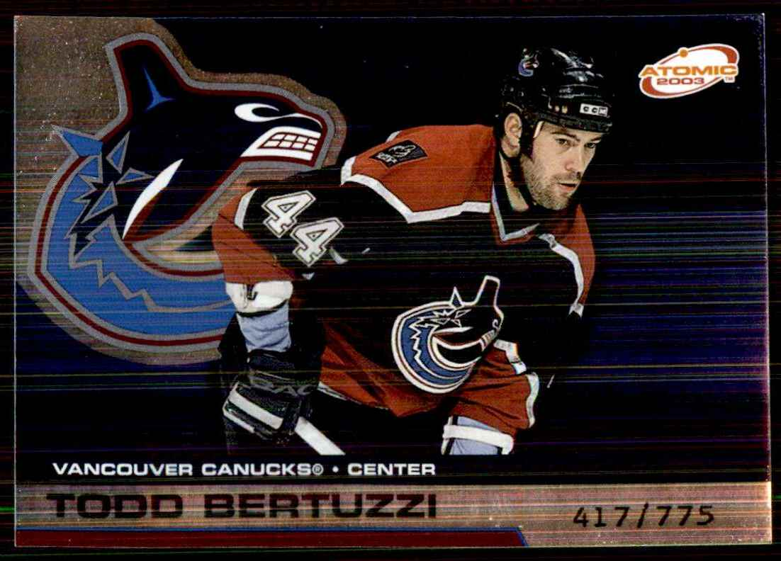 2002-03 Pacific Atomic Hobby Parallel Todd Bertuzzi #95 card front image