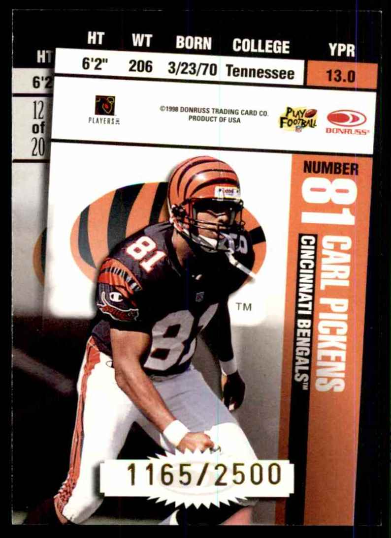 1998 Leaf Rookies & Stars Ticket Masters Corey Dillon/Carl Pickens #12 card back image