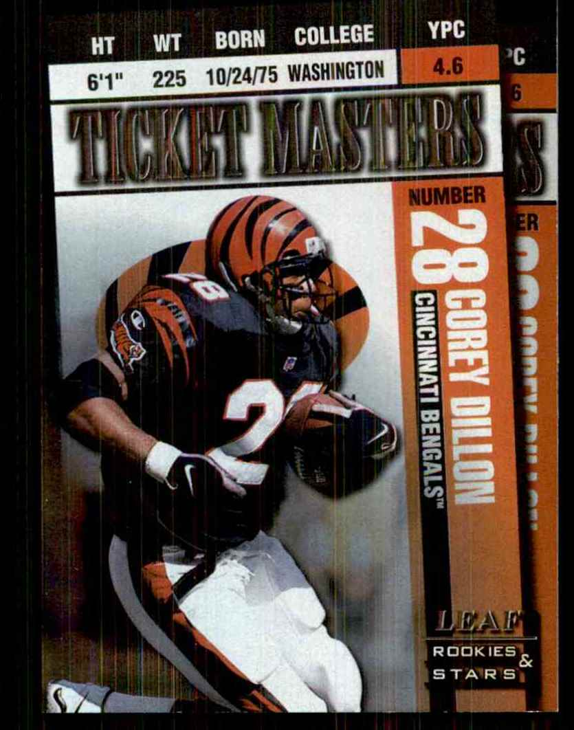 1998 Leaf Rookies & Stars Ticket Masters Corey Dillon/Carl Pickens #12 card front image