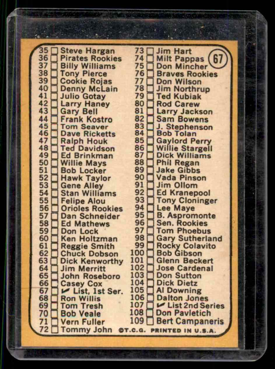 1968 Topps Jim Kaat #67 card back image