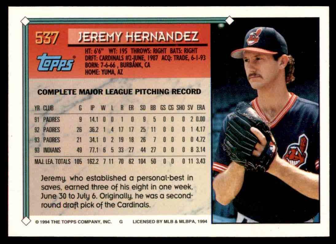 1994 Topps Jeremy Hernandez #537 card back image