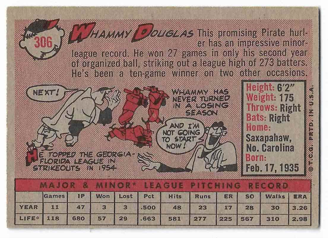 1958 Topps Whammy Douglas #306 card back image