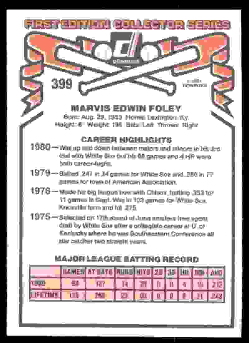 1981 Donruss Marvis Foley #399 card back image