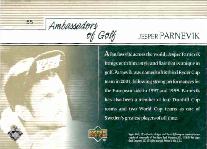 2001 SP Authentic Preview Jesper Parnevik Ag #55 card back image