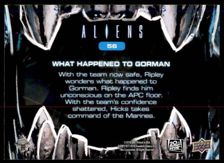 2018 Aliens What Happened To Gorman #56 card back image