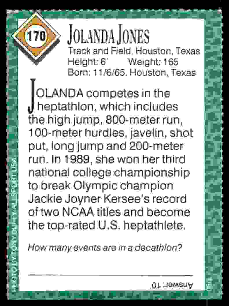 1990-91 Sports Illustrated For Kids Jolanda Jones/Track And Field #170 card back image