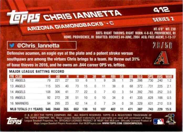 2017 Topps Series 2 Chris Iannetta #412 card back image