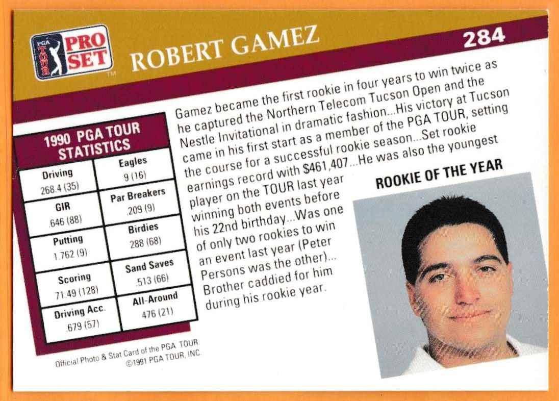 1990 Pro Set Golf 1990 PGA Tour Robert Gamez #284 card back image