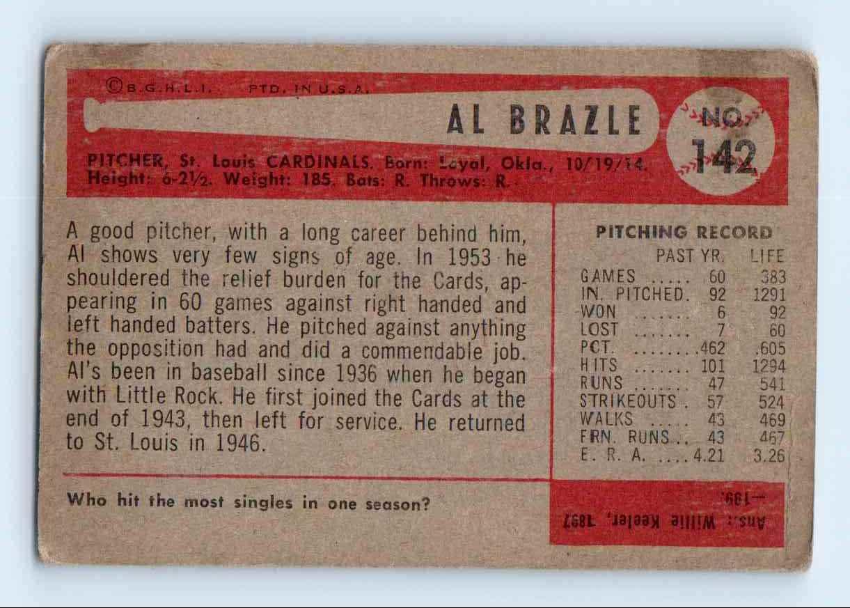 1954 Bowman Al Brazle #142 card back image