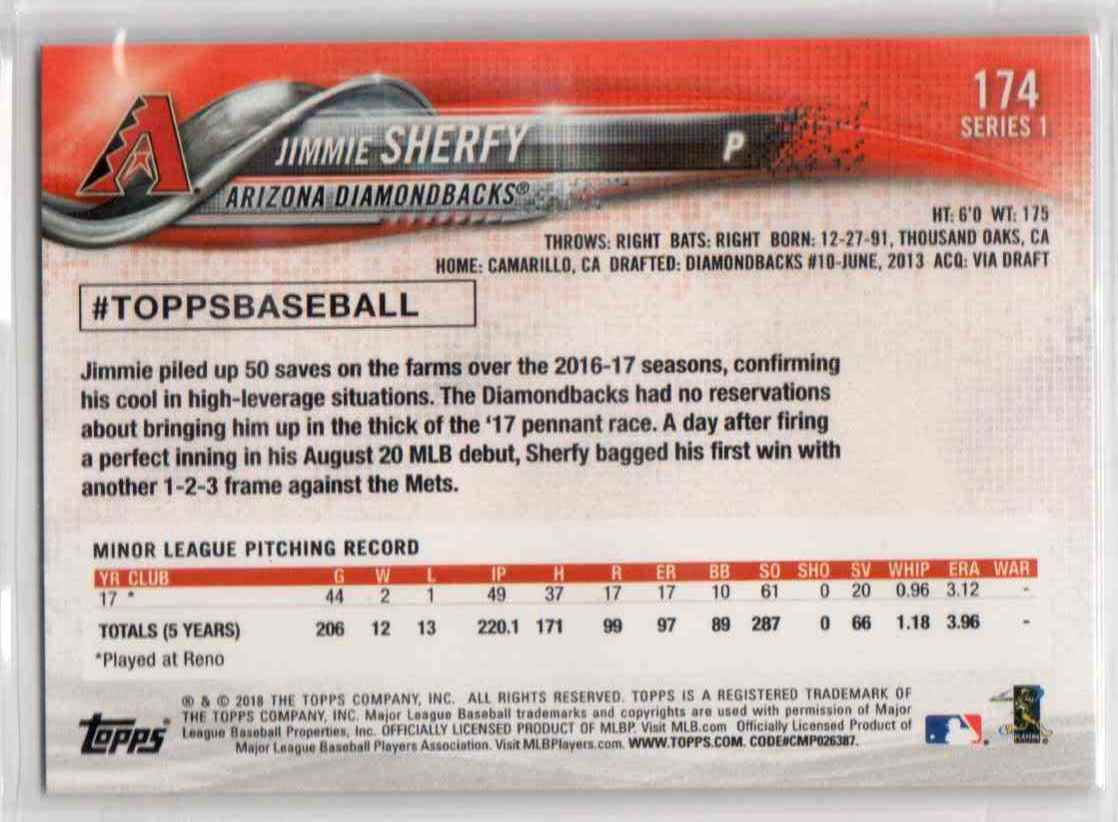 2018 Topps Series 1 Jimmie Sherfy #174 card back image