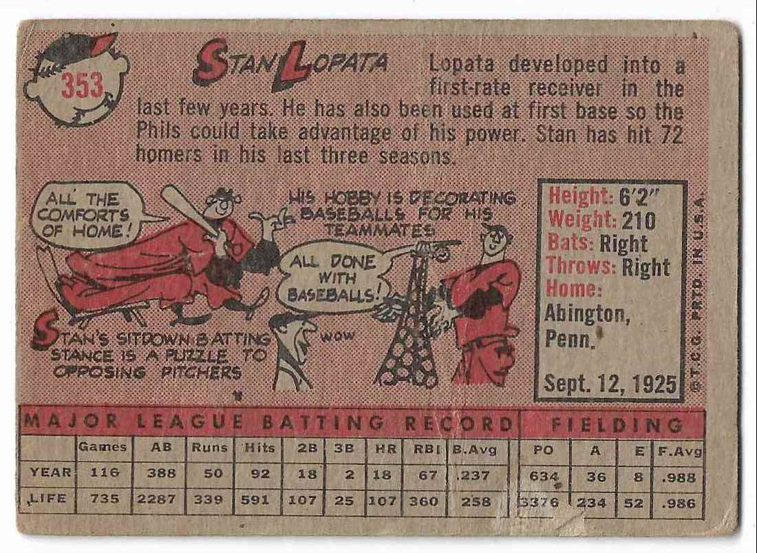 1958 Topps Stan Lopata #353 card back image