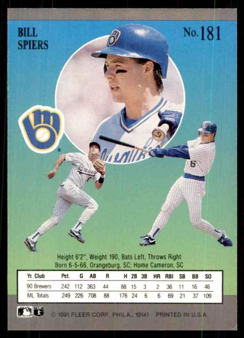 1991 Ultra Bill Spiers #181 card back image