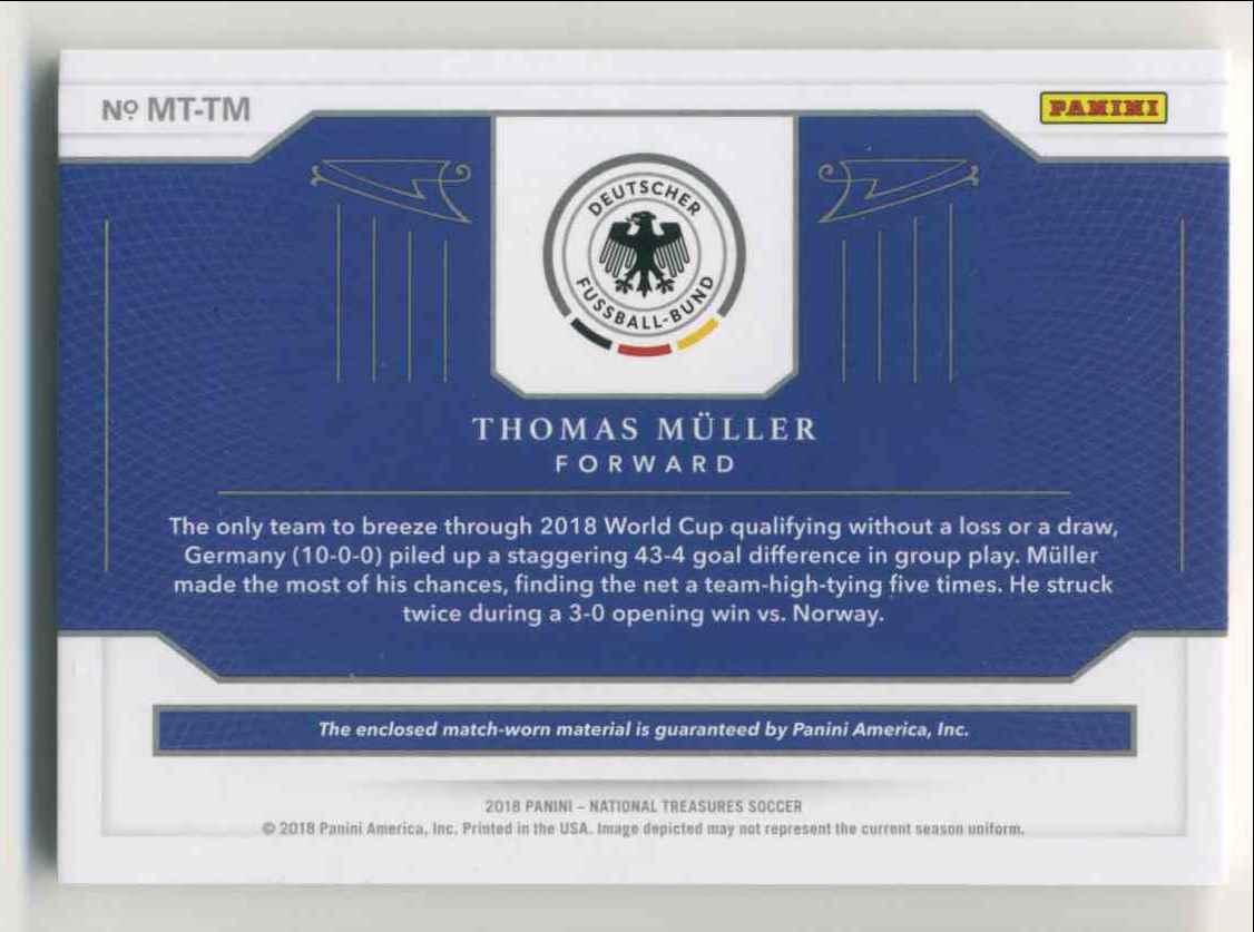 2018 Panini National Treasures Material Treasures Bronze Thomas Muller #MT-TM card back image