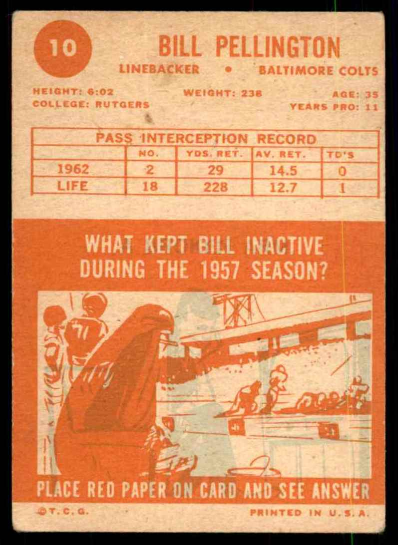 1963 Topps Bill Pellington #10 card back image
