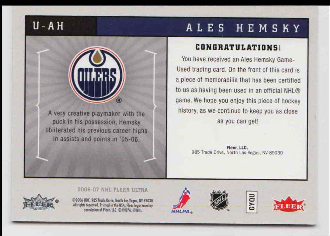 2006-07 Ultra Uniformity Jersey Alex Hemsky #U-AH card back image
