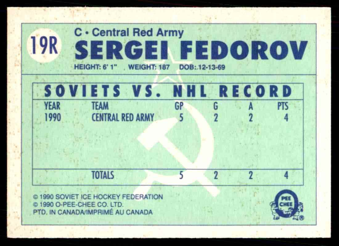 1990-91 O-Pee-Chee Red Army ! Sergei Fedorov #19R card back image