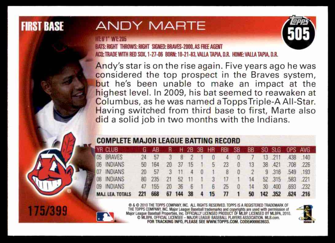 2010 Topps Copper Andy Marte #505 card back image