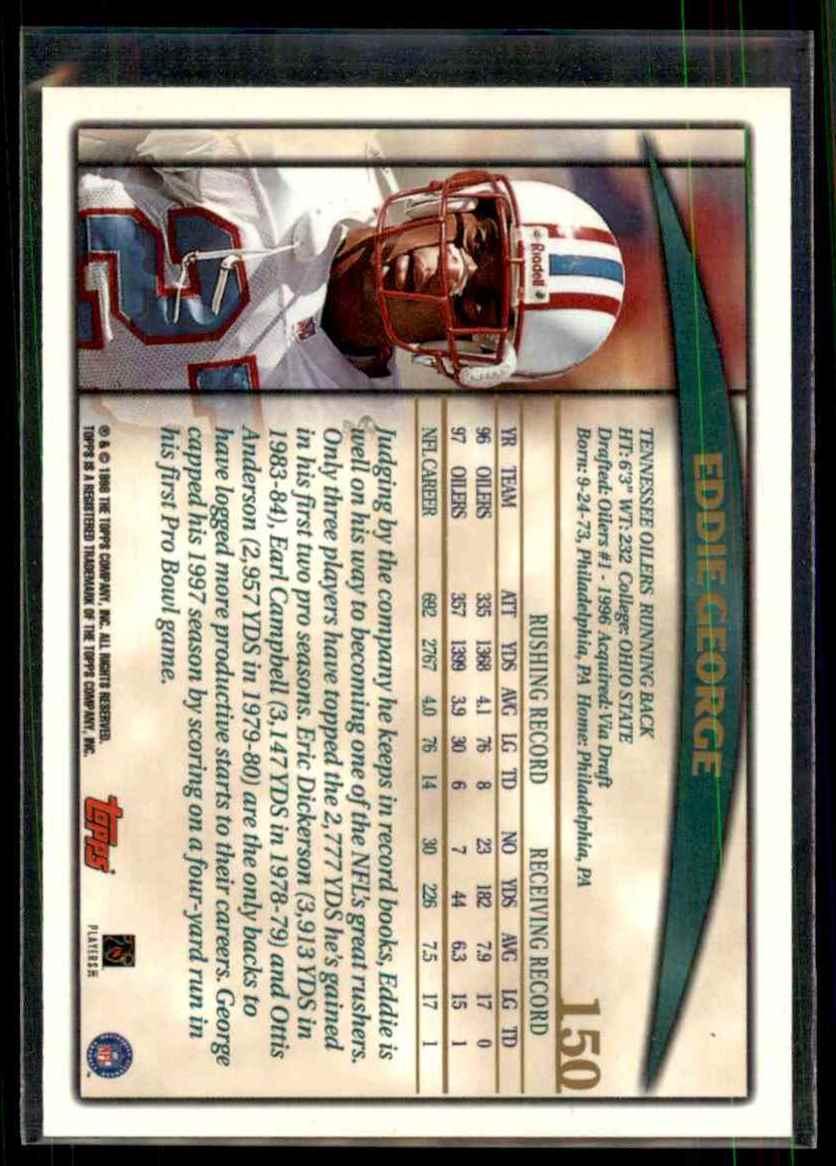 1998 Topps Eddie George #150 card back image