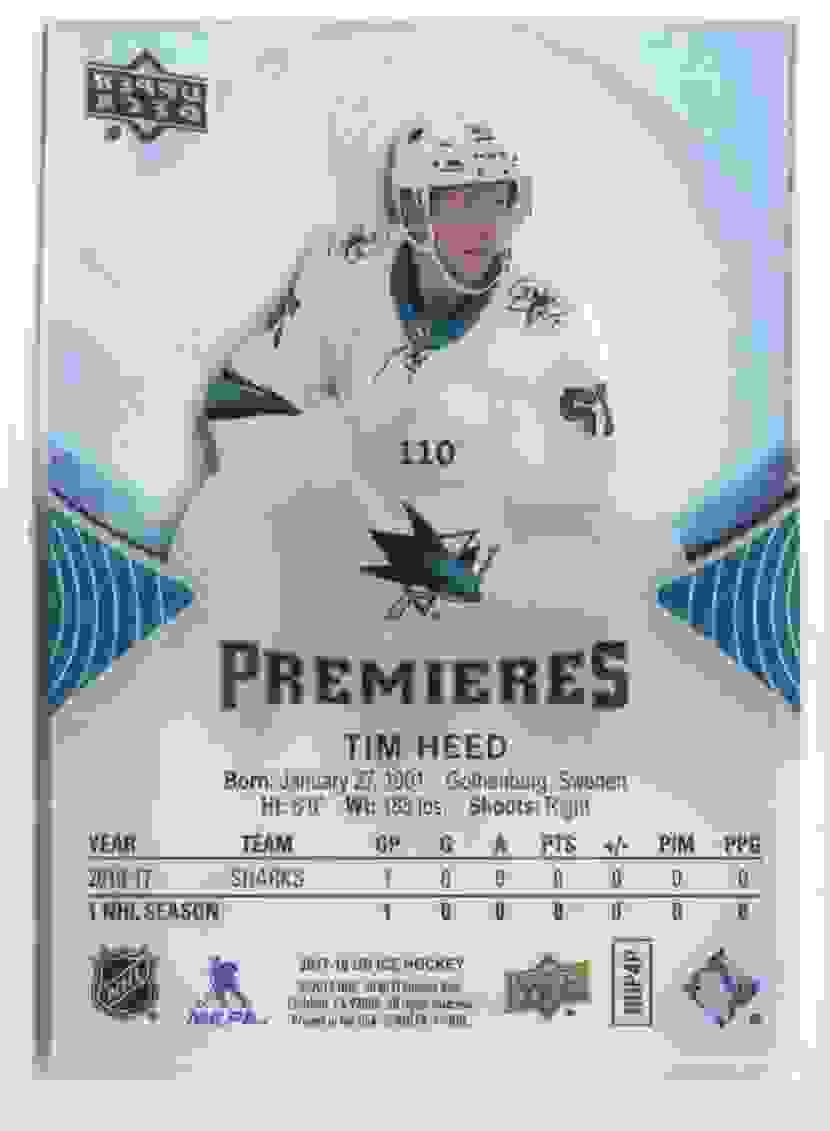 2017-18 Upper Deck Ice Premieres Tim Heed #110 card back image