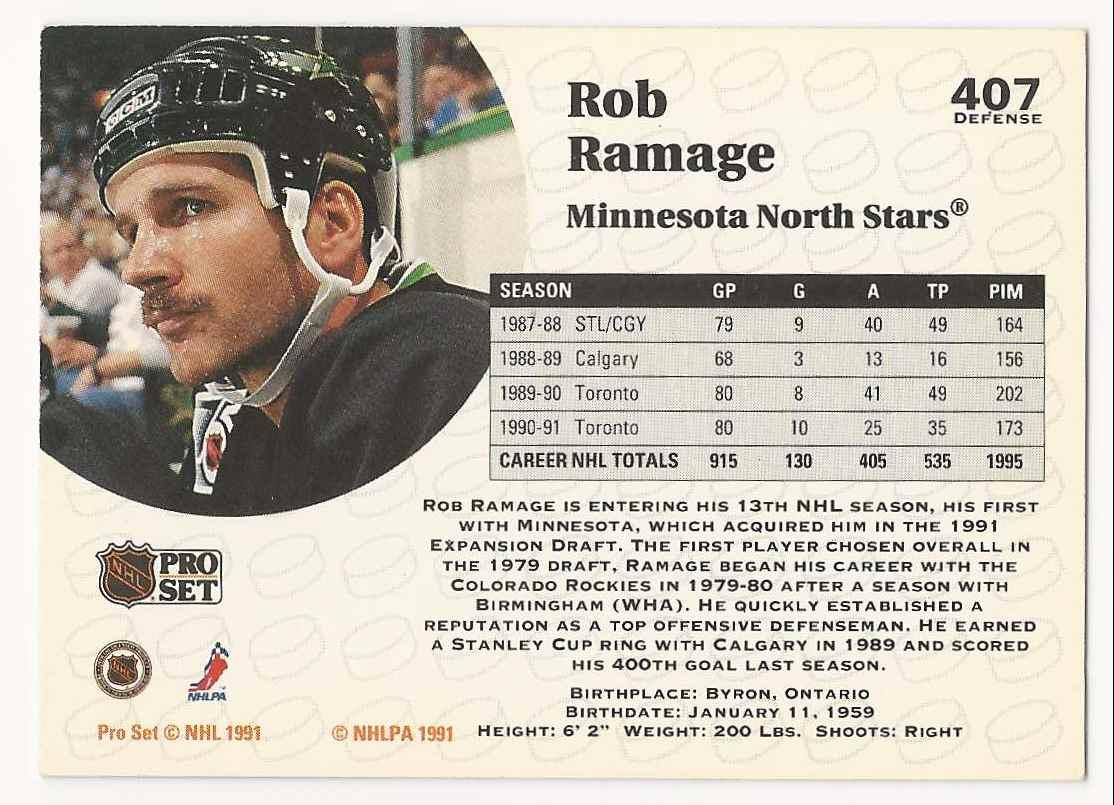 1991-92 Pro Set Rob Ramage #407 card back image