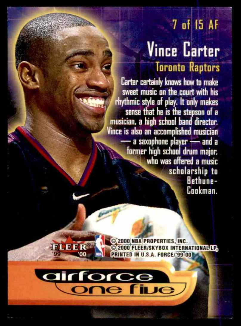 1999-00 Fleer Force Air Force One Five Vince Carter #AF7 card back image