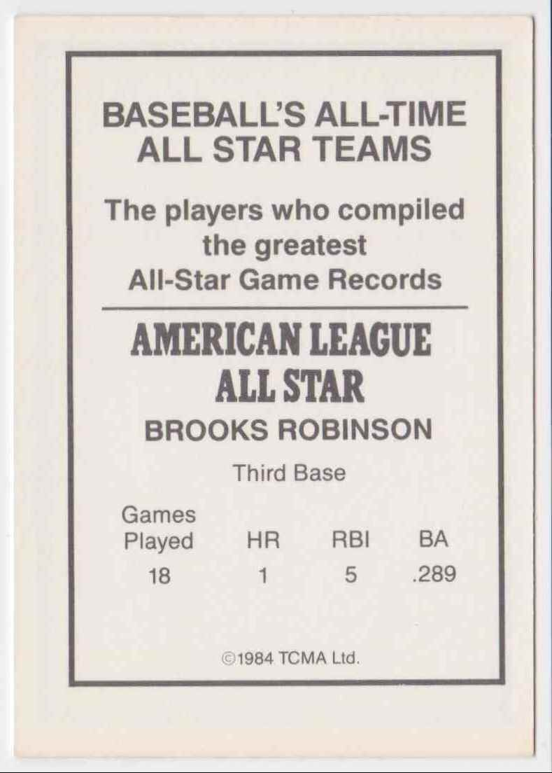 1984 TCMA All-Time All-Stars Team Brooks Robinson #NN card back image