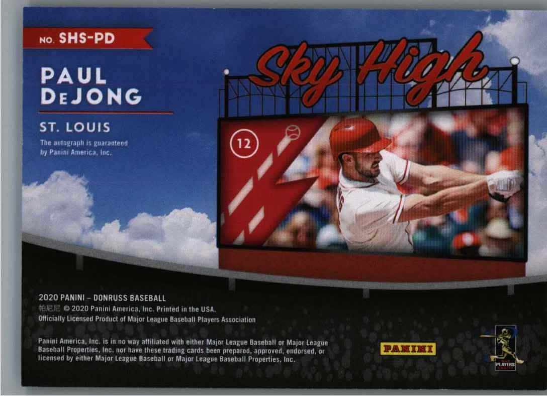 2020 Panini Donruss Sky High Dejohn, Paul #SHS-PD card back image