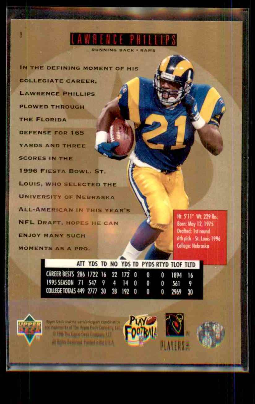 1996 SP Lawrence Phillips RC #9 card back image