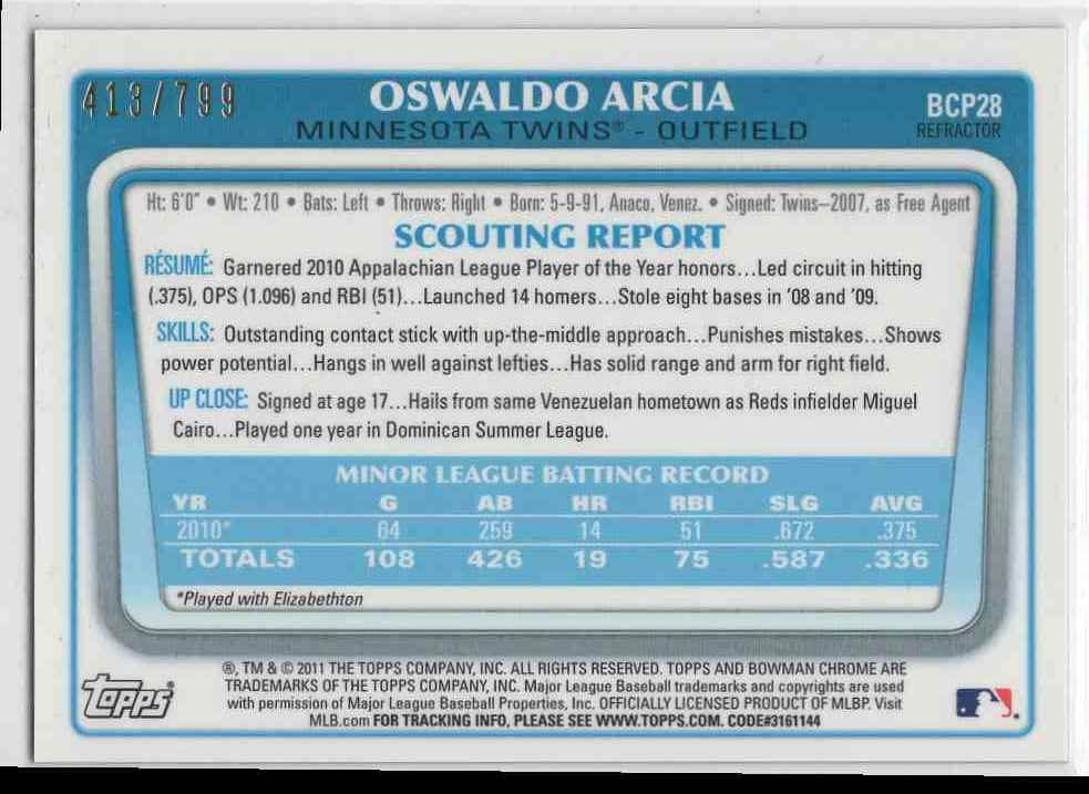 2011 First Bowman Chrome Refractor Oswaldo Arcia #BCP28 card back image