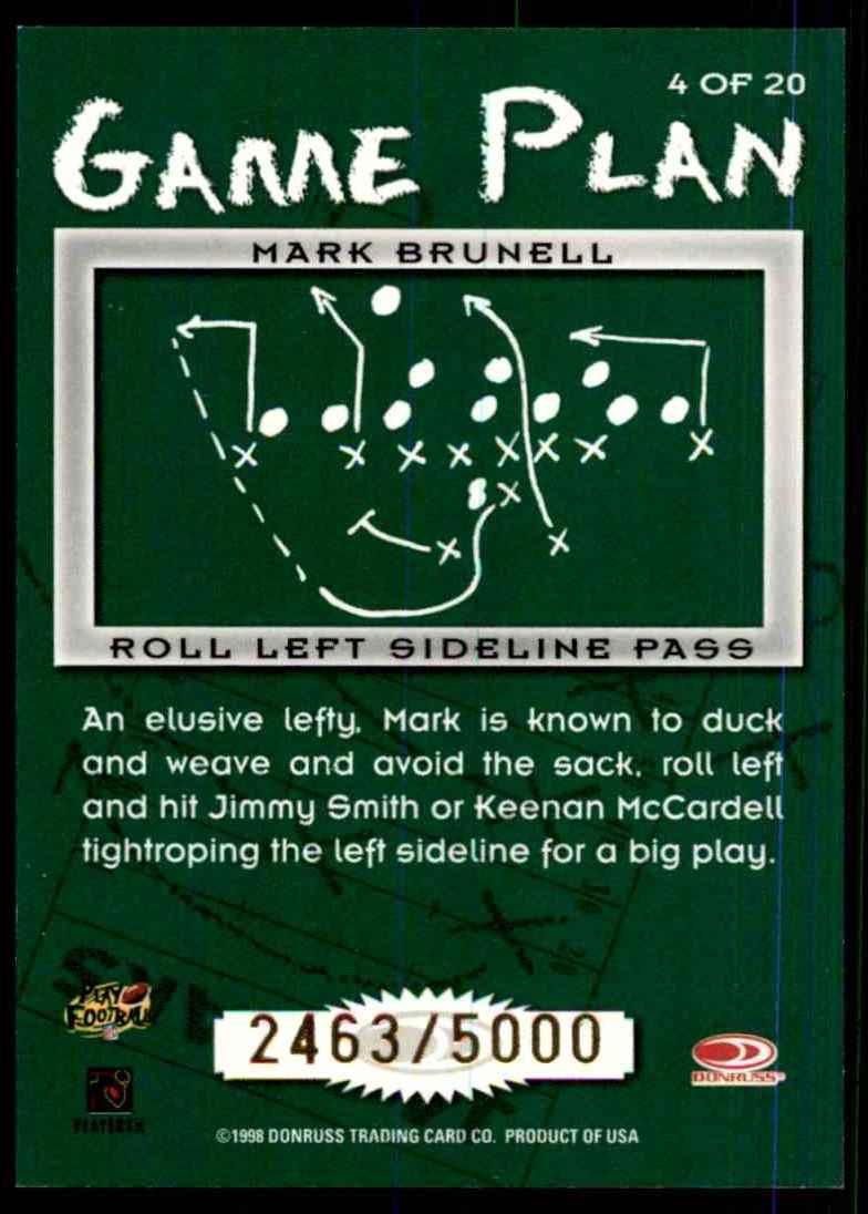 1998 Leaf Rookies & Stars Game Plan Mark Brunell #4 card back image