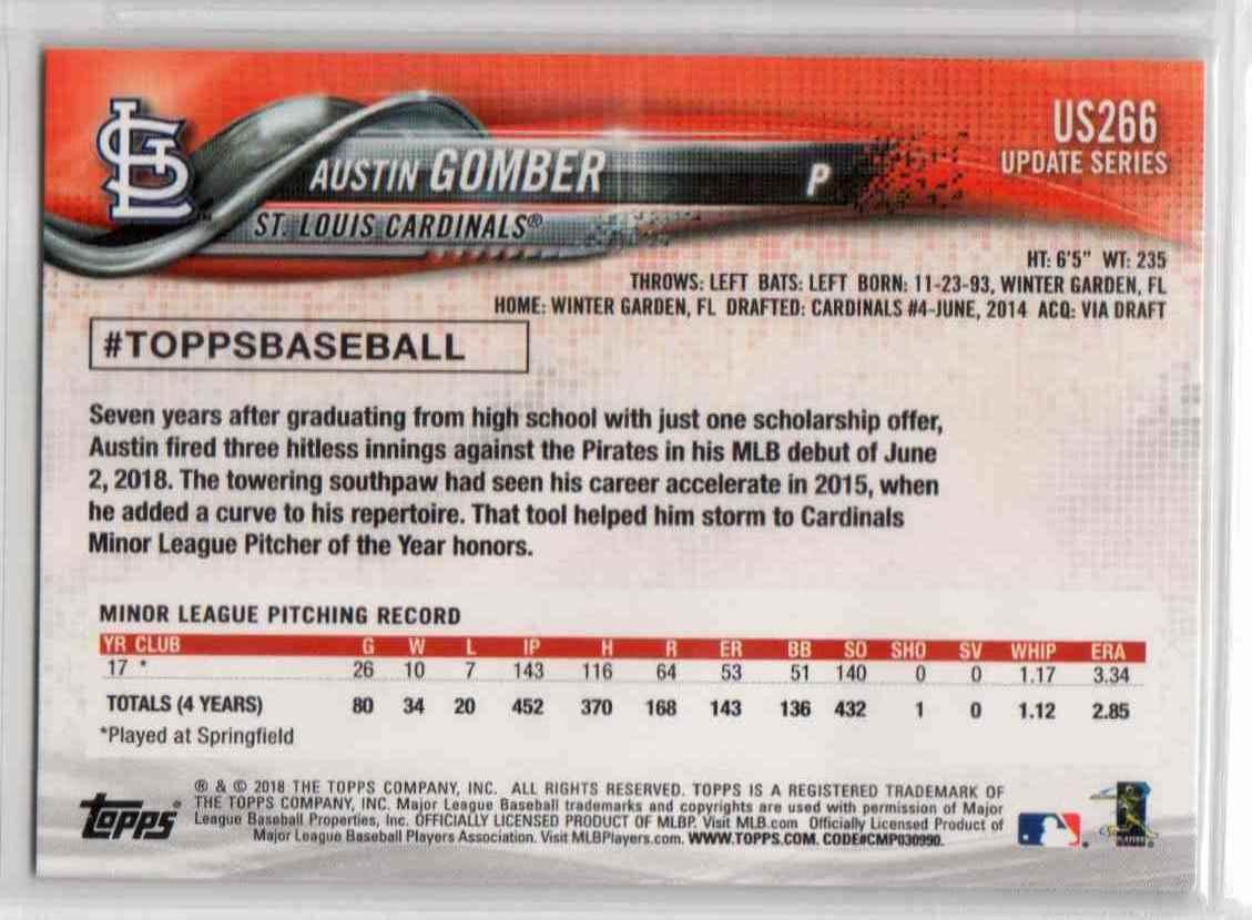 2018 Topps Update Austin Gomber #US266 card back image