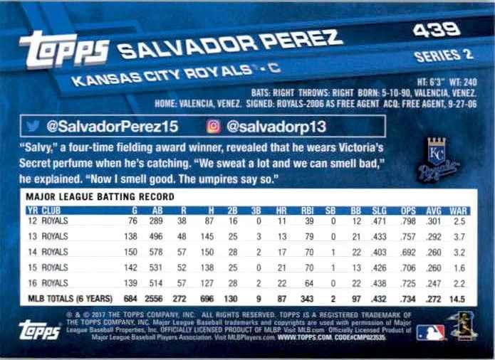 2017 Topps Series 2 Salvador Perez #439 card back image