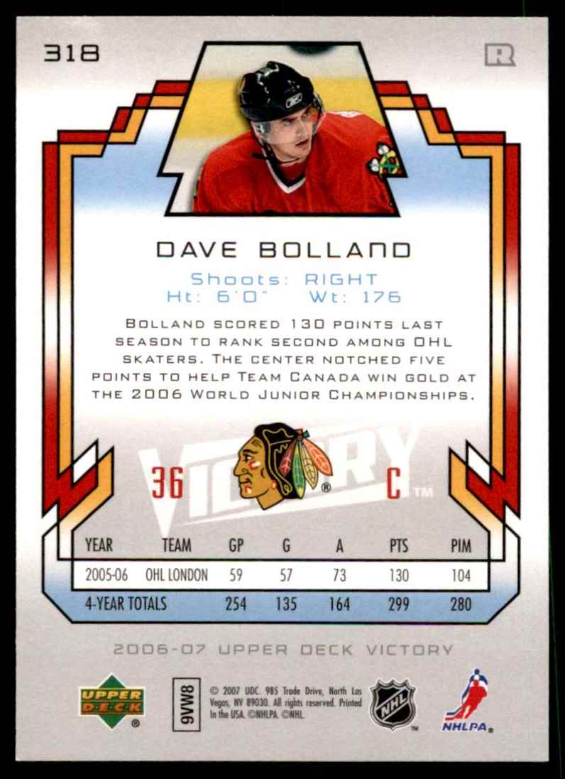 2006-07 Upper Deck Victory Dave Bolland RC #318 card back image