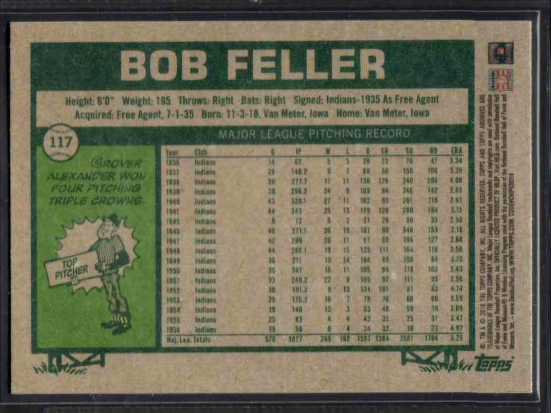 2018 Topps Archives Bob Feller #117 card back image