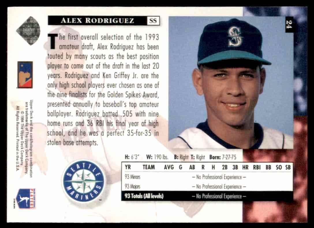 1994 Upper Deck Star Rookies Alex Rodriguez 24 On Kronozio