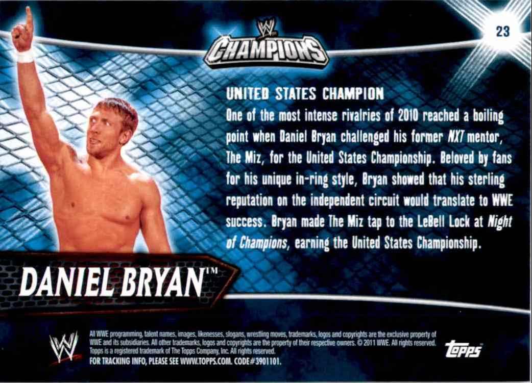2011 Topps Wwe Champions Daniel Bryan #23 card back image