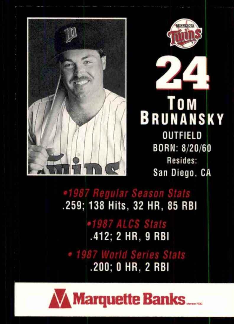 1988 Marquette Banks Tom Brunansky #24 card back image