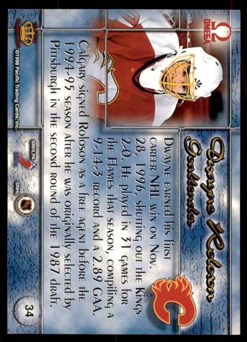 1997-98 Pacific Omega Dwayne Roloson #34 card back image