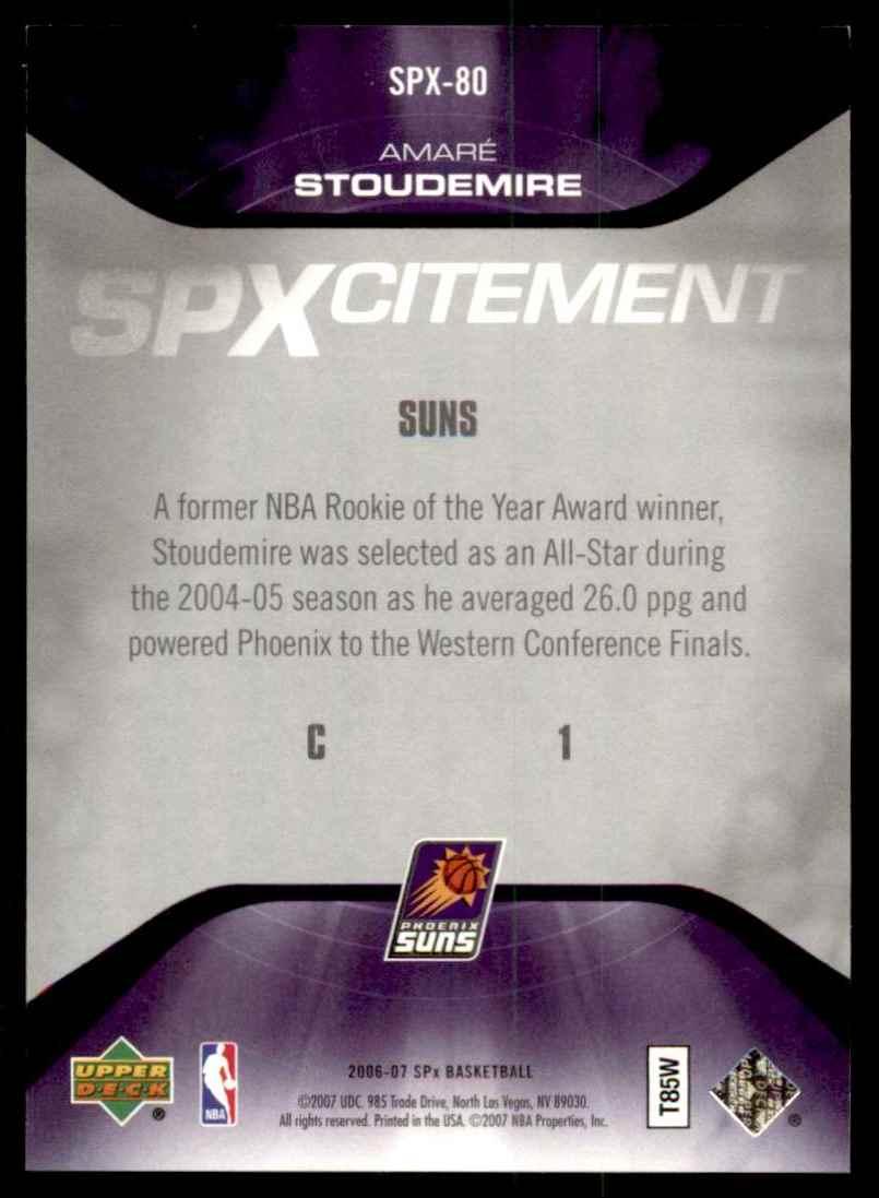 2006-07 Spx SPxcitement Amare Stoudemire #SPX80 card back image