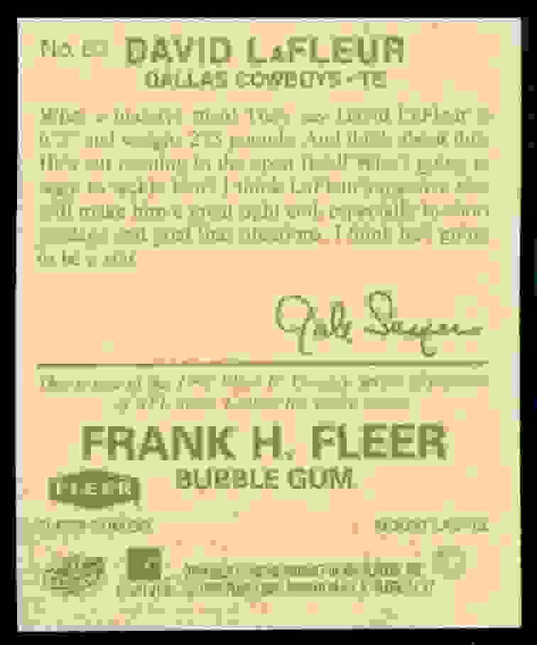 1997 Fleer Goudey David Lafleur #63 card back image