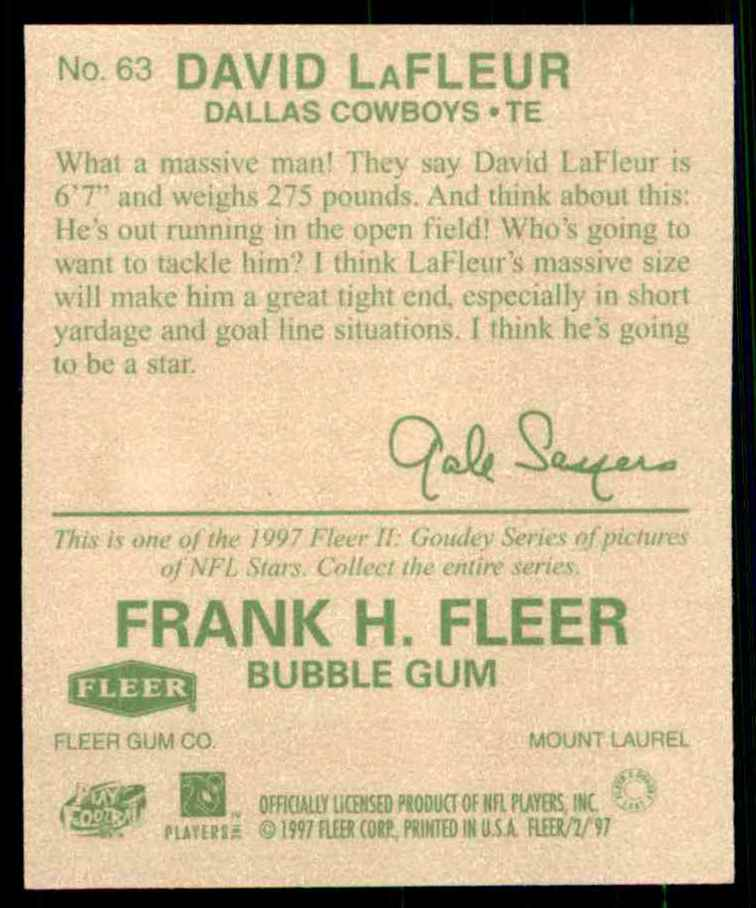 1997 Fleer Goudey David Lafleur #63 card back image