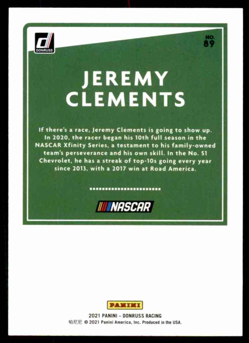 2021 Donruss Silver Jeremy Clements #89 card back image