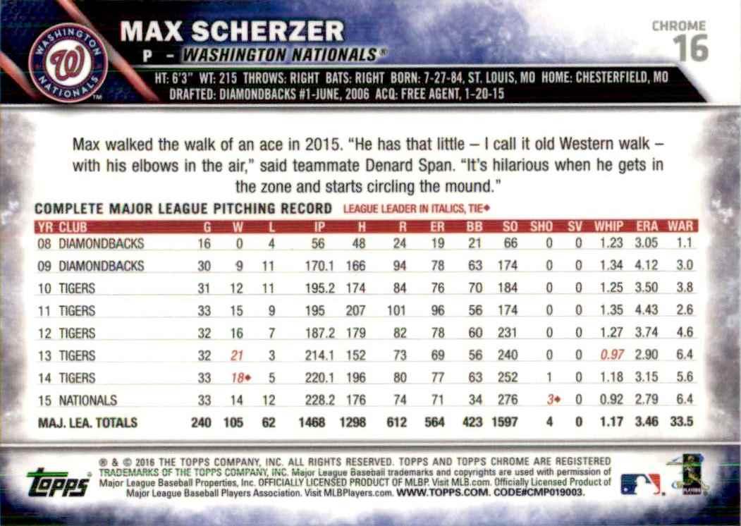 2016 Topps Chrome Max Scherzer #16 card back image