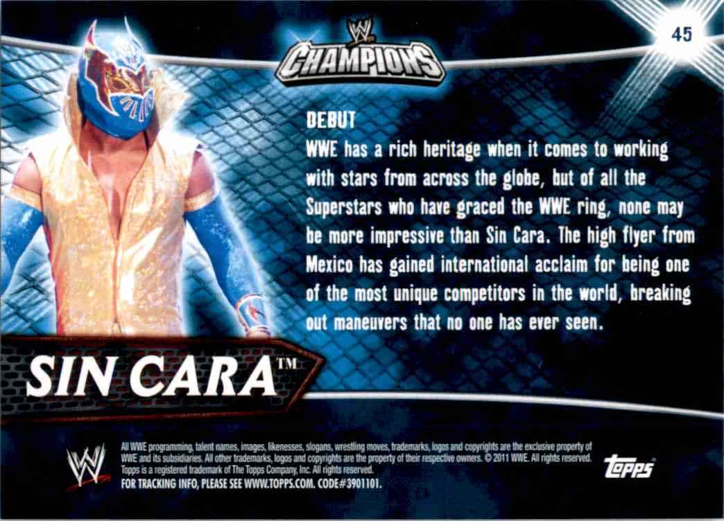 2011 Topps Wwe Champions Sin Cara #45 card back image
