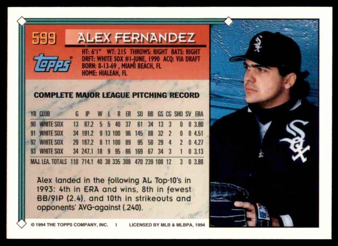 1994 Topps Gold Alex Fernandez #599 card back image