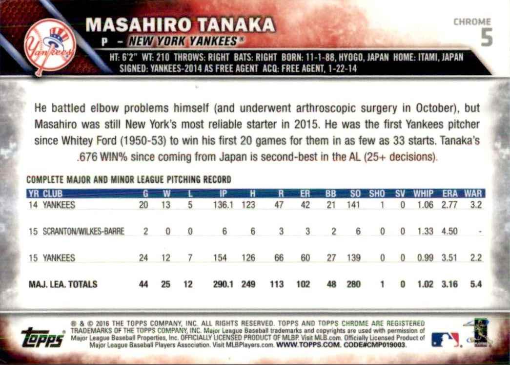 2016 Topps Chrome Masahiro Tanaka #5 card back image
