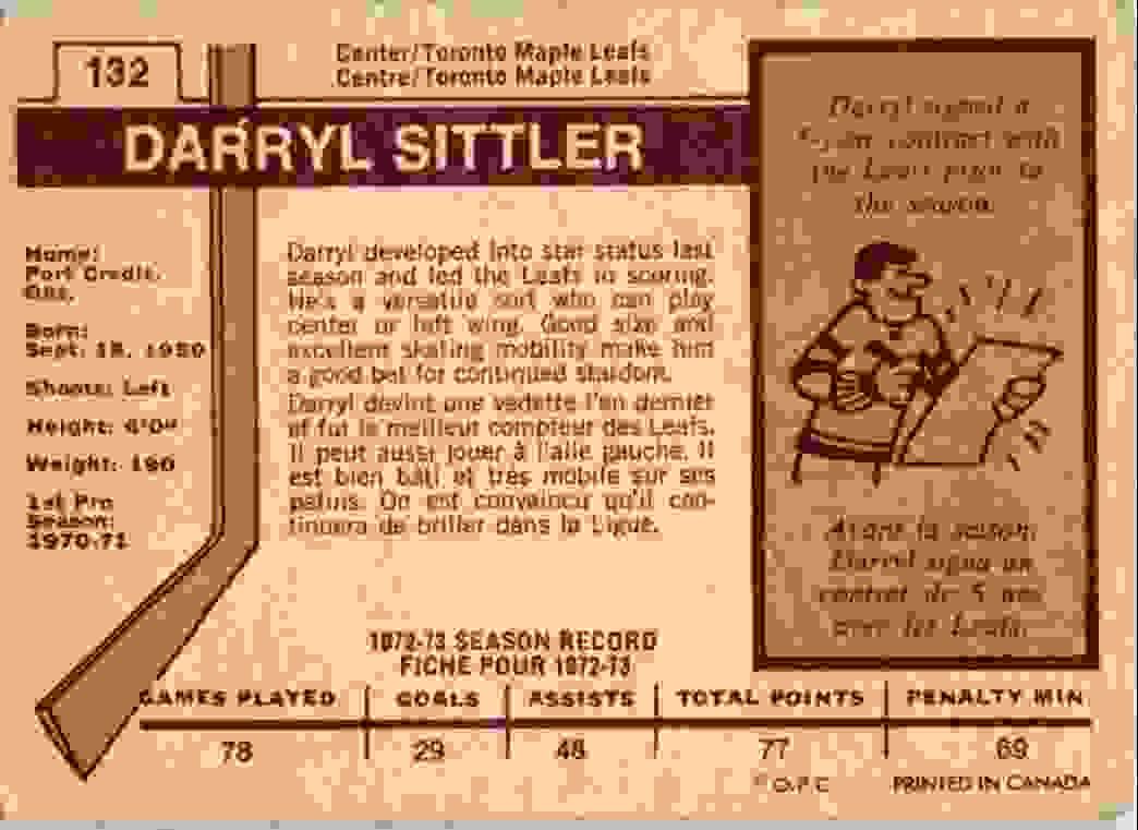 1973-74 O-Pee-Chee Darryl Sittler #132 card back image