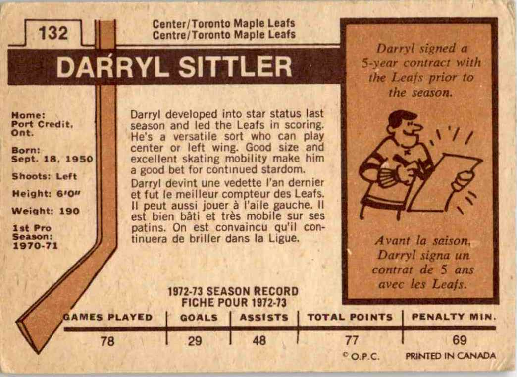 1973-74 O-Pee-Chee Darryl Sittler #132 card back image