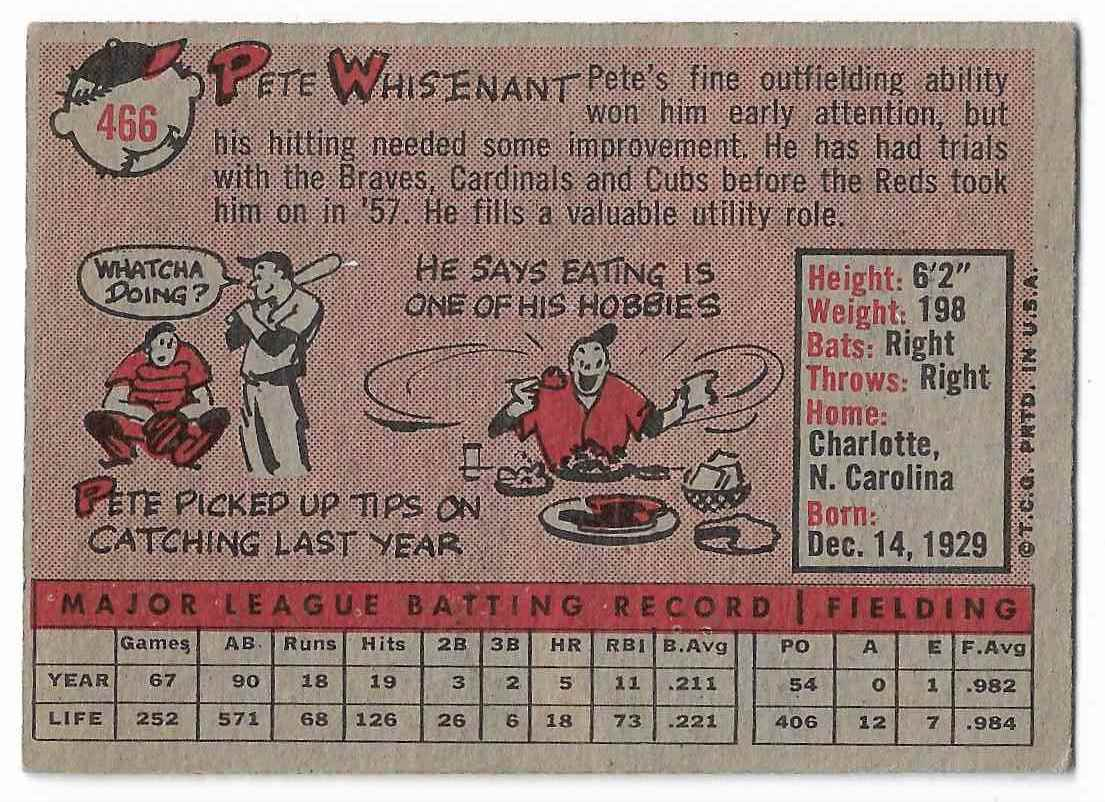 1958 Topps Pete Whisenant #466 card back image