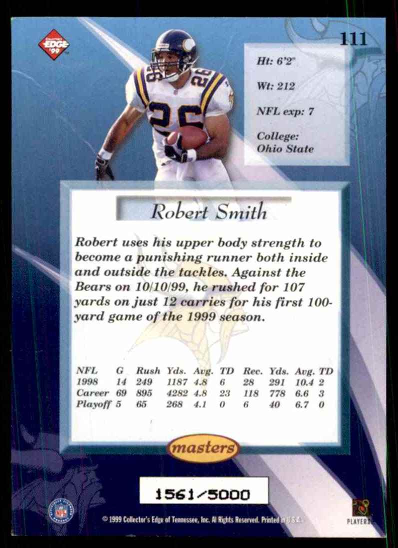1999 Collector's Edge Masters Robert Smith #111 card back image